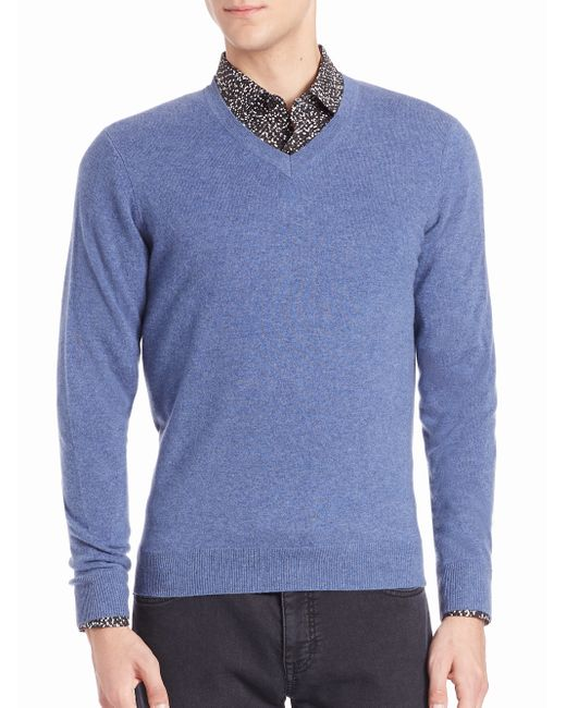 Saks Fifth Avenue | Blue Cashmere V-neck Sweater for Men | Lyst