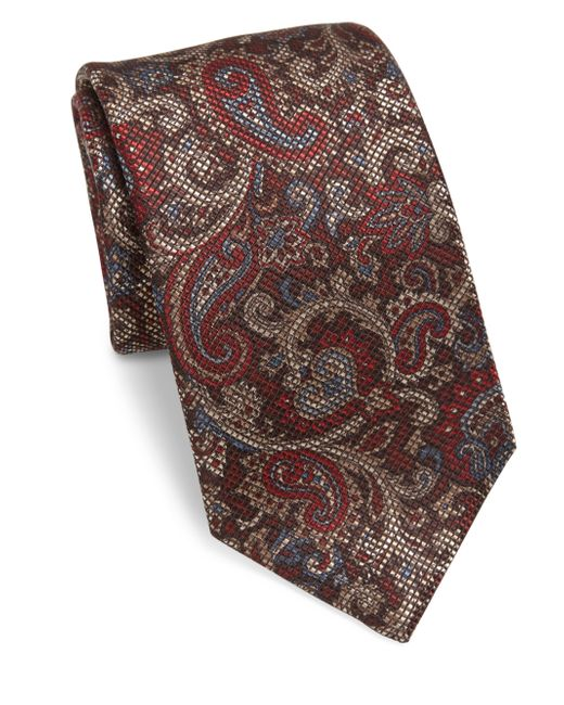 Saks Fifth Avenue | Red Antique Pai Silk Tie for Men | Lyst