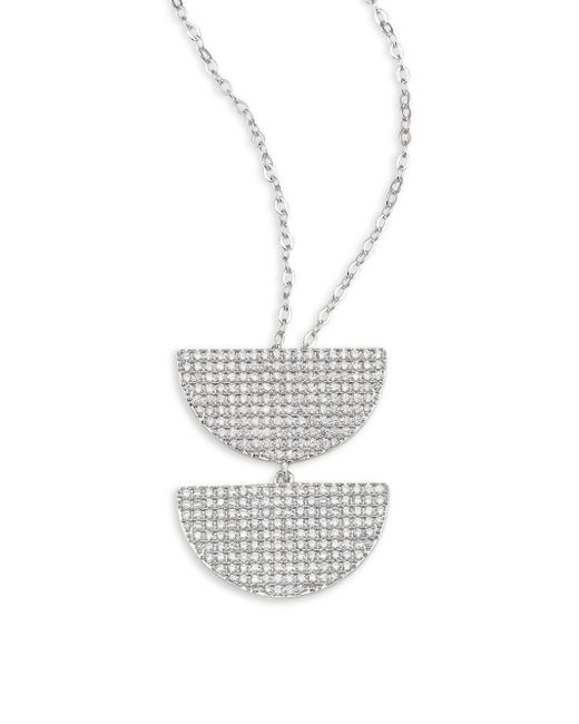 Adriana Orsini | Metallic Armour Pave Sterling Silver Pendant Necklace | Lyst