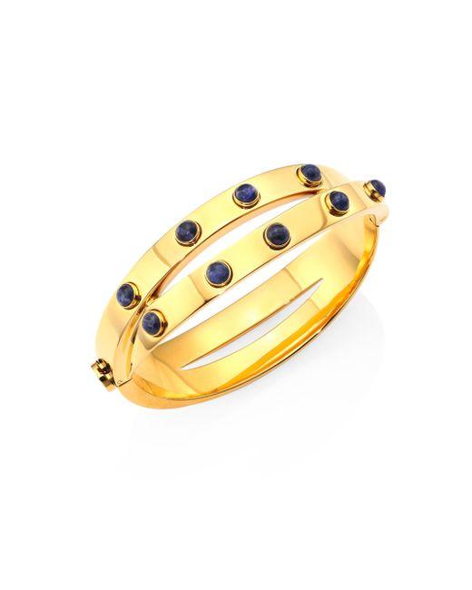 Tory Burch   Lapis & Metallic Leather Double-wrap Bracelet   Lyst