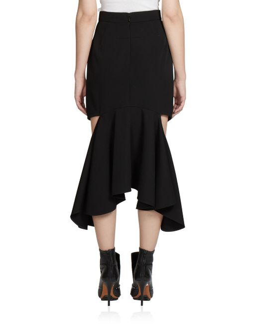 givenchy ruffled cutout midi skirt in black lyst