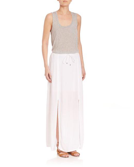 splendid crinkle gauze maxi skirt in white lyst