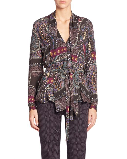 Etro | Natural Intarsia Knit Belted Top | Lyst