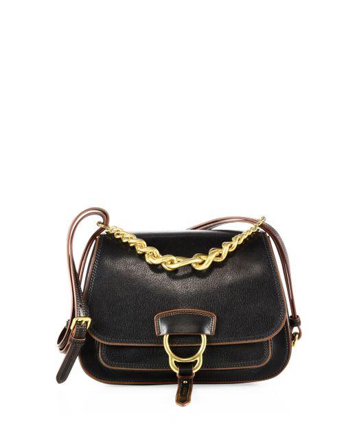 Miu Miu | Black Dahlia Leather Saddle Bag | Lyst
