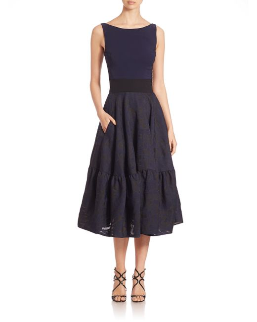 Antonio Berardi | Blue Jacquard Flounce Skirt Dress | Lyst