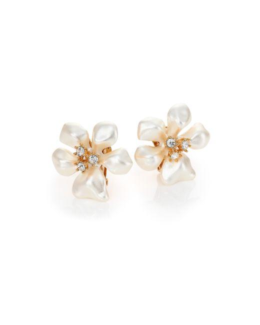 Kenneth Jay Lane | White Faux Pearl & Crystal Flower Clip-on Earrings | Lyst