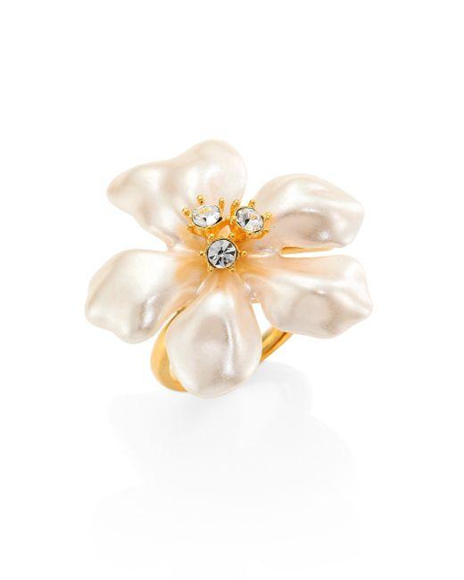 Kenneth Jay Lane | Metallic Faux Pearl & Crystal Flower Ring | Lyst