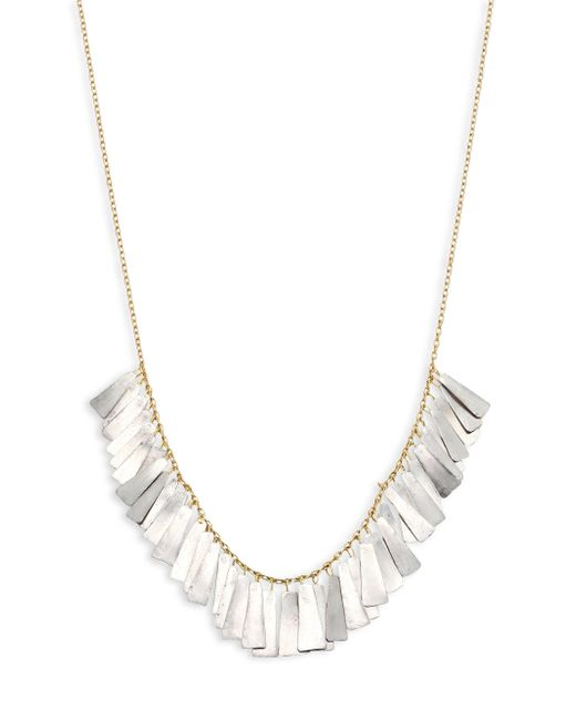 Sia Taylor | Metallic Feather 18k Yellow Gold & Platinum Necklace | Lyst