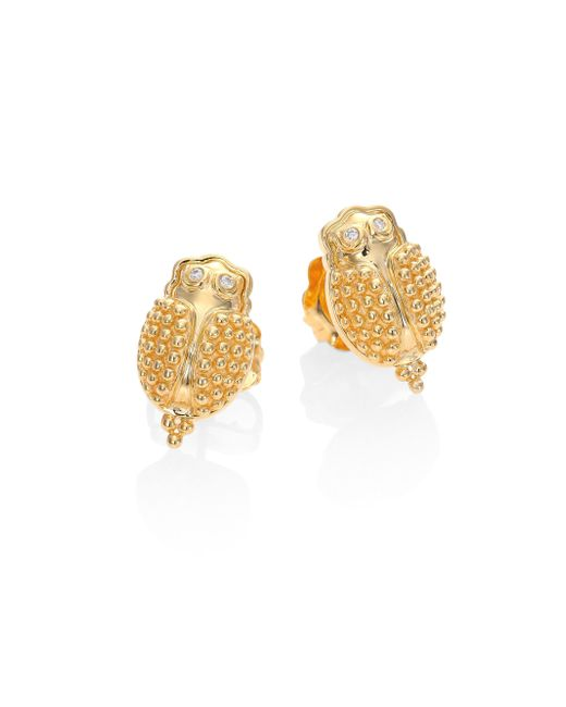 Temple St. Clair | Metallic Scarab Diamond & 18k Yellow Gold Stud Earrings | Lyst