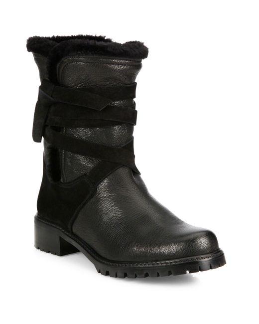 Stuart Weitzman | Black Showshield Leather & Faux Fur Booties | Lyst