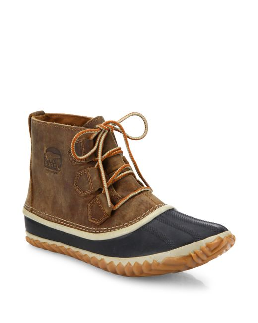 sorel out n about leather duck boots lyst