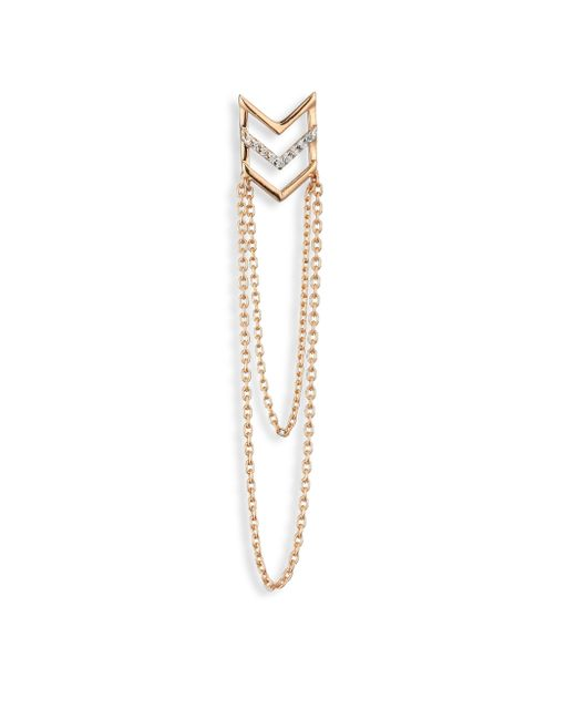 Kismet by Milka | Metallic Chevron Diamond & 14k Rose Gold Single Long Earring | Lyst