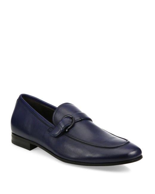 Ferragamo | Blue Faruk Leather Loafers for Men | Lyst