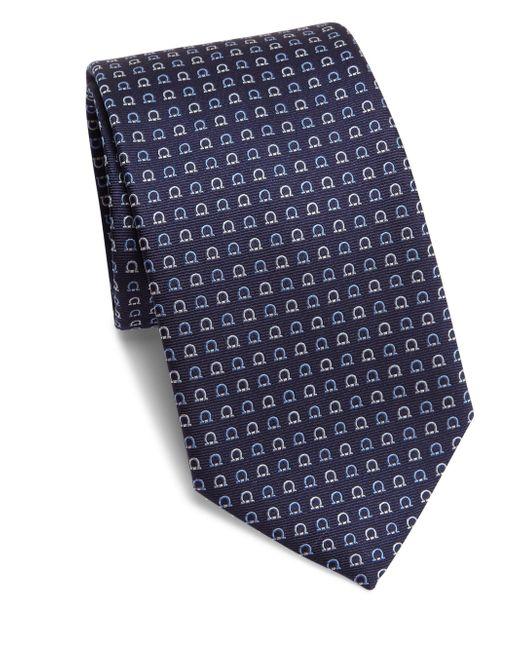Ferragamo   Blue Geometric Gancini Print Silk Tie for Men   Lyst