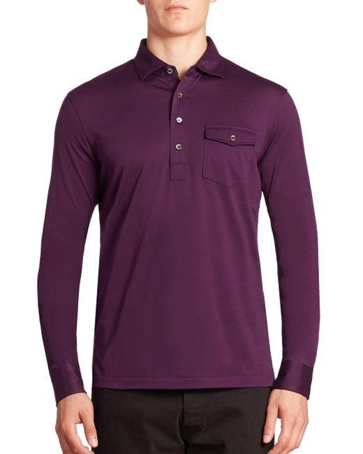 Polo ralph lauren hampton long sleeve polo in purple for for Long sleeve purple polo shirt