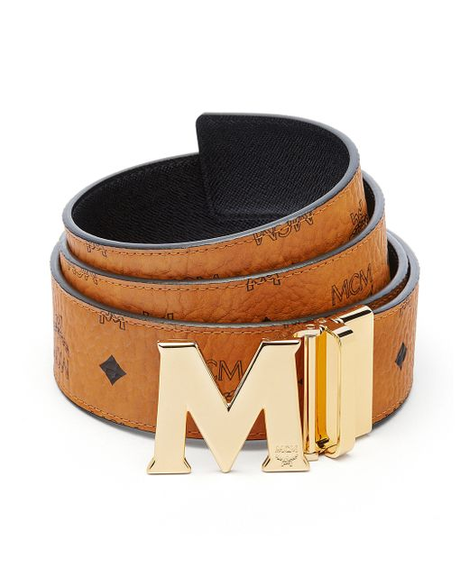 mcm textured leather belt in multicolor cognac lyst
