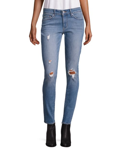 levi 39 s 711 distressed mid rise skinny jeans in blue lyst. Black Bedroom Furniture Sets. Home Design Ideas