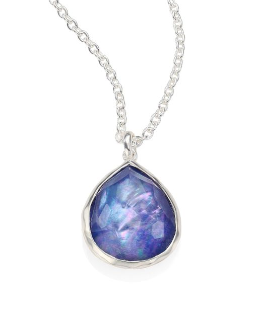Ippolita | Metallic Rock Candy? Clear Quartz, Mother-of-pearl & Lapis Mini Teardrop Pendant Necklace | Lyst