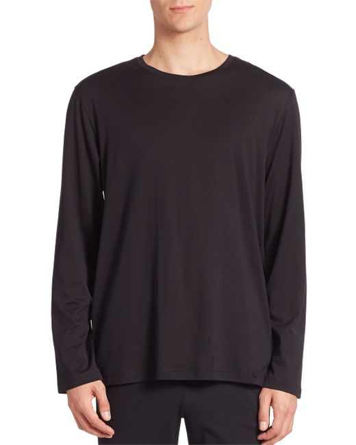 Hanro | Black Night And Day Solid Long Sleeve Tee for Men | Lyst