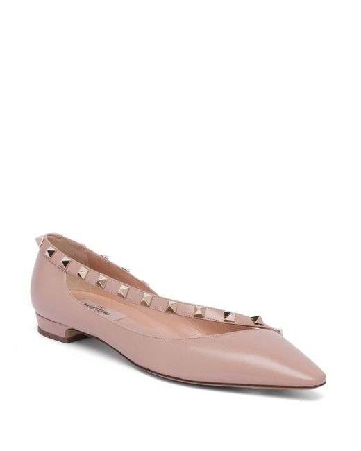Valentino | Pink Rockstud Leather D'orsay Flats | Lyst