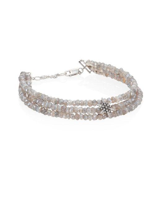 Meira T   Multicolor Diamond, White Labradorite & 14k White Gold Beaded Bracelet   Lyst