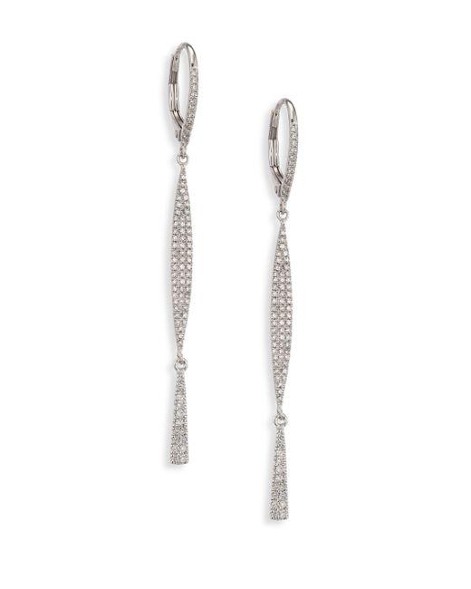 Meira T | Metallic Diamond & 14k White Gold Drop Earrings | Lyst