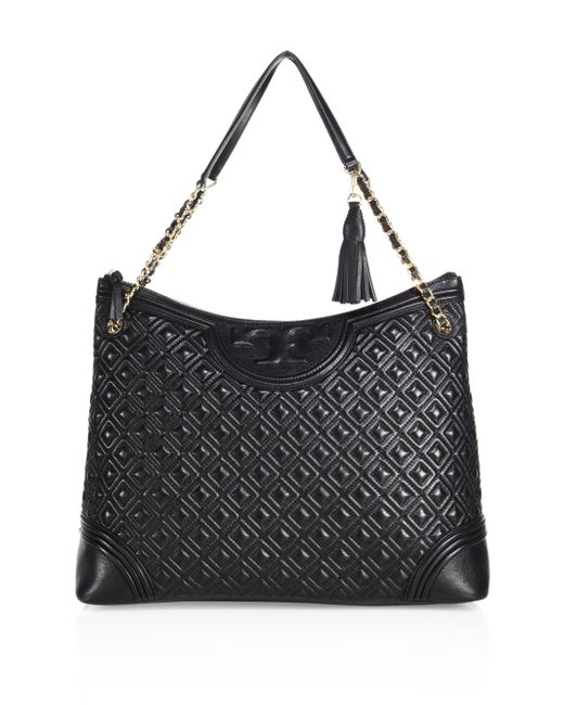 Tory Burch | Black Fleming Quilted Leather Tote | Lyst