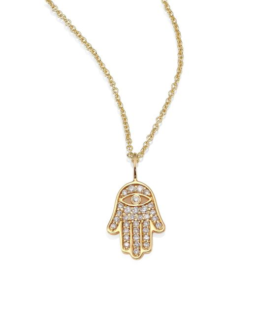 Sydney Evan | Metallic Mini Hamsa Pave Diamond & 14k Yellow Gold Pendant Necklace | Lyst