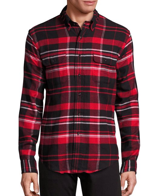 Pink Pony Regular Fit Plaid Cotton Button Down Shirt In