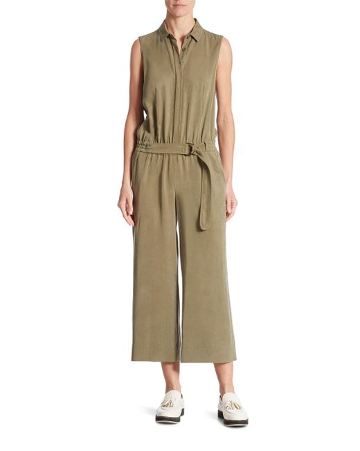Akris Punto | Natural Cropped Wide-leg Lyocell Jumpsuit | Lyst