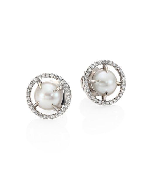 Jordan Alexander   Metallic 10mm Sliced Round Freshwater Pearl, Diamond & 18k White Gold Stud Earrings   Lyst