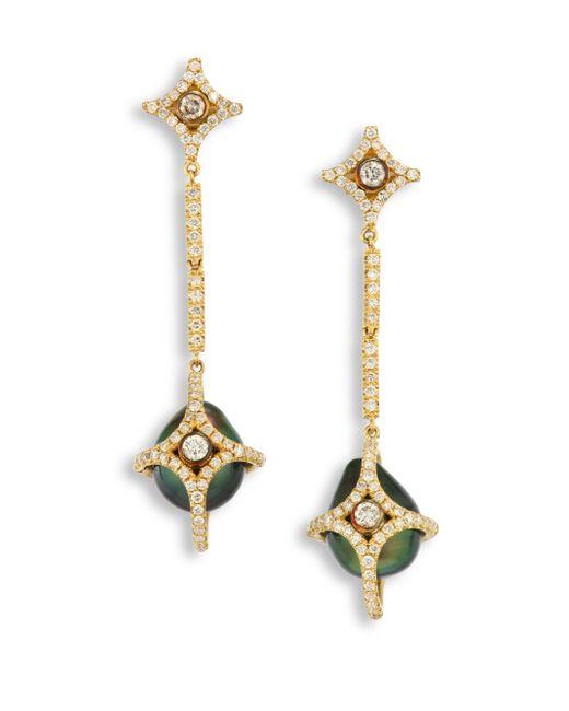 Jordan Alexander | Metallic Diamond, 10mm Tahitian Pearl & 18k Yellow Gold Caged Drop Earrings | Lyst