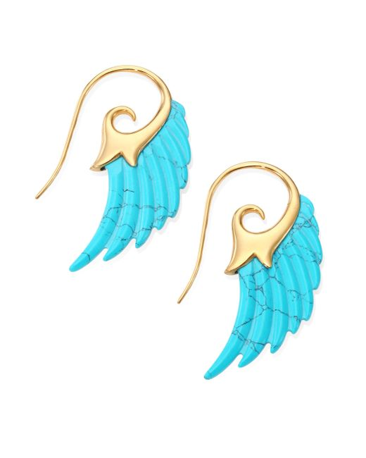 Noor Fares | Blue Fly Me To The Moon Turquoise & 18k Yellow Gold Wing Earrings | Lyst
