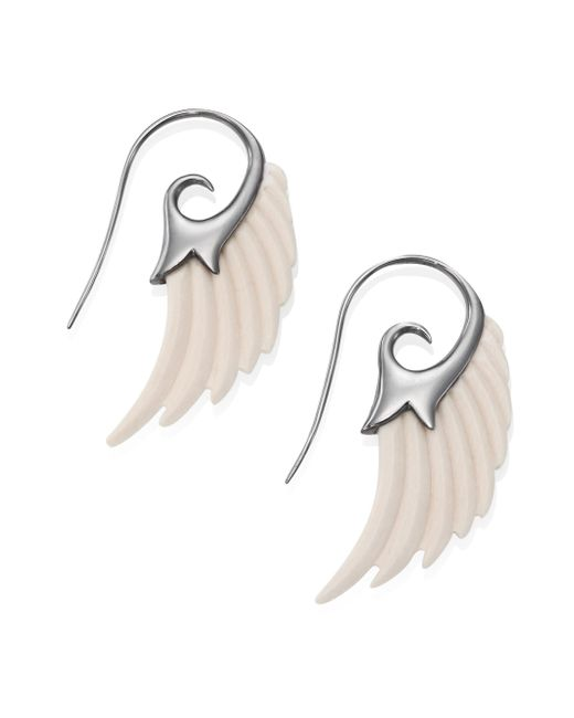 Noor Fares | Metallic Fly Me To The Moon Ivory Wing Earrings | Lyst