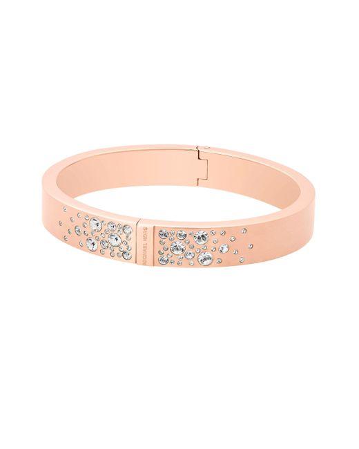 Michael Kors | Pink Modern Brilliance Crystal Hinged Bangle Bracelet/rose Goldtone | Lyst