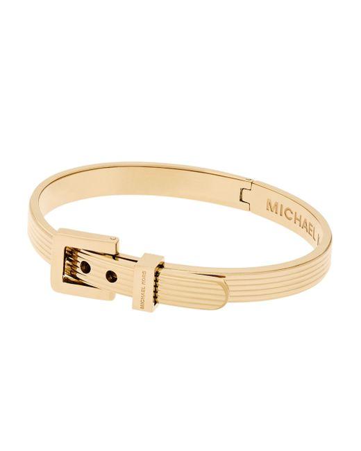 Michael Kors | Metallic Ribbed Padlock Buckle Bracelet/goldtone | Lyst