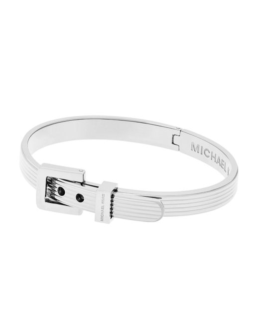 Michael Kors | Metallic Ribbed Padlock Buckle Bracelet/silvertone | Lyst