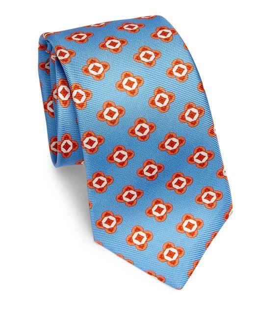 Kiton | Blue Large Geometric Floral Silk Tie for Men | Lyst