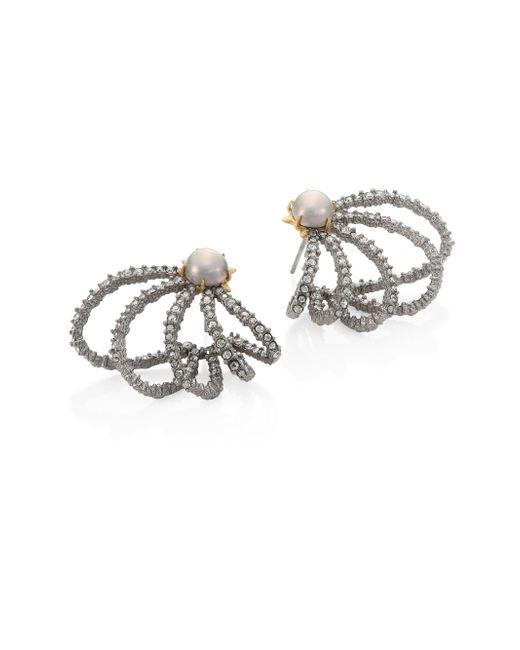 Alexis Bittar | Metallic Crystal & Faux-pearl Orbiting Stud Earrings | Lyst