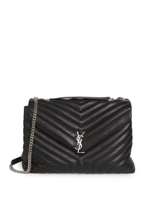 Saint Laurent | Black Large Lou Lou Leather Chain Shoulder Bag | Lyst