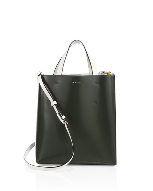 Marni | Green Two-tone Leather Shopping Bag | Lyst