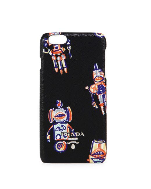 Prada | Black Robot Saffiano Leather Iphone 6 Case | Lyst