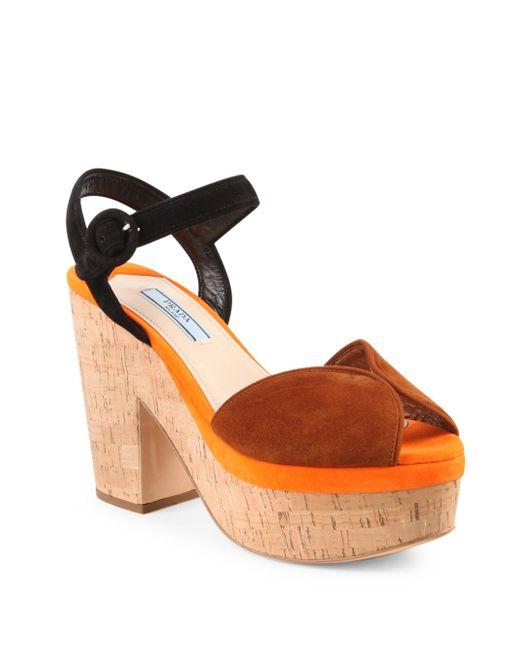 Prada | Orange Tri-tone Suede & Cork Platform Sandals | Lyst