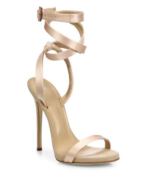 Giuseppe Zanotti | Natural Giuseppe For Jennifer Lopez 120 Satin Ankle-wrap Sandals | Lyst