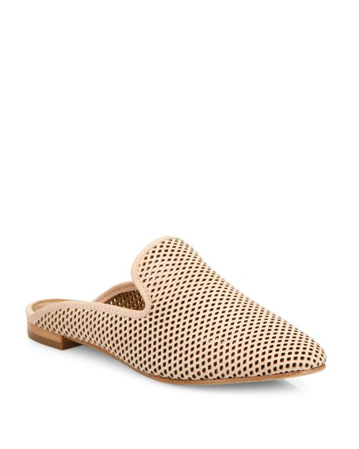 Frye | White Gwen Perforated Leather Flat Mules | Lyst