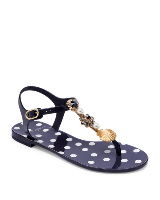 Dolce & Gabbana | Blue Seashell Jelly Thong Sandals | Lyst