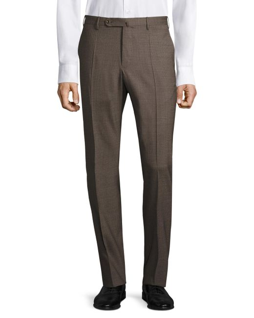 Incotex | Brown Textured Regular-fit Trousers for Men | Lyst