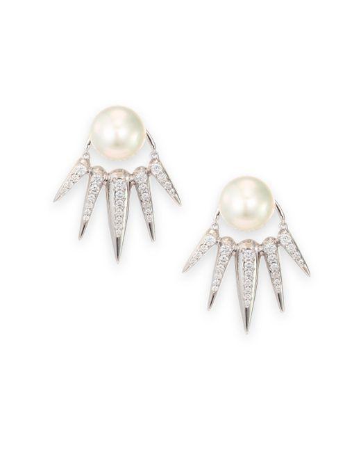 Nikos Koulis | Spectrum 16mm White Tahitian Pearl & Diamond Ear Jacket & Stud Earrings Set | Lyst