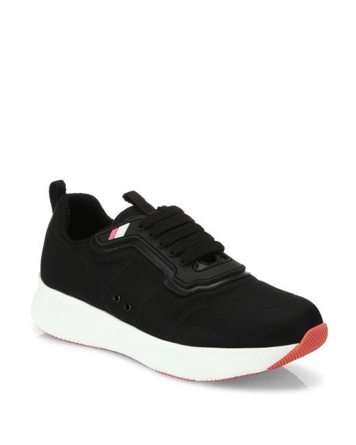 Prada | Black Nylon Lace-up Trainers | Lyst