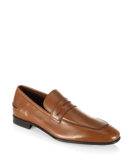Ferragamo | Brown Duchamp Leather Penny Loafers for Men | Lyst
